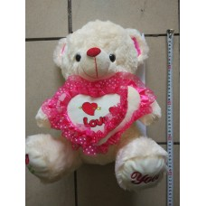 Мягкая игрушка Мишка с сердцем бел/крем-рюш