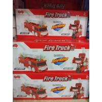 Игрушка на бат, муз, машина-трансформер, 2в1,кор (Пожарная машина) 222-19B