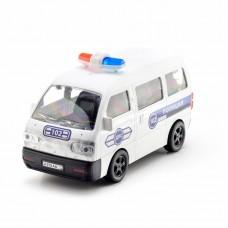 Машина пластмассовая Полицейский минивэн, 25см. прозрачные окна КМР 071g