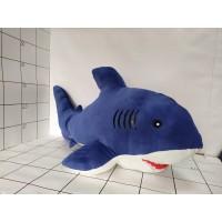 Игрушка мягкая Акула мех син велюр 90см