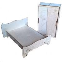 Кровать со шкафом-2 габариты д/п кровать в 20см ш16см г8см (для кукол 20см)